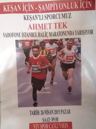 Ahmet Tek Vodafone Maratonu'nda Keşan Belediyesi sponsorluğunda yarışacak
