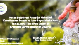 Paşayiğit Mahallesi Kanalizasyon İnşaatı ve İçme Suyu Şebeke Hattı'nın Temeli 2 Mayıs'ta atılacak.