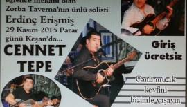 Cennettepe'de 29 Kasım akşamı Erdinç Erişmiş konser verecek.
