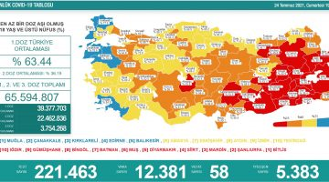 Türkiye'de 12 bin 381 kişinin Kovid-19 testi pozitif çıktı, 58 kişi yaşamını yitirdi