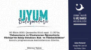 """""""UYUM BULUŞMALARI"""" 20 EKİM'DE"""