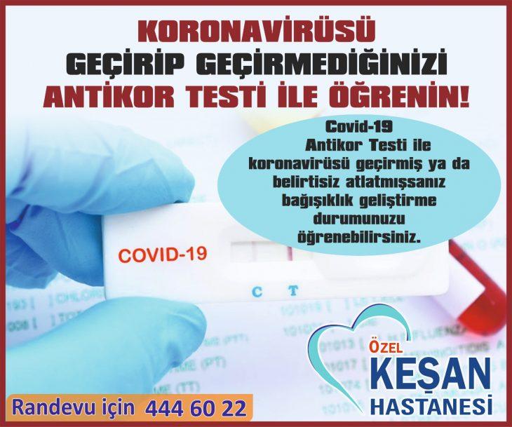 Özel Keşan Hastanesinde Antikor Testi Yapılıyor