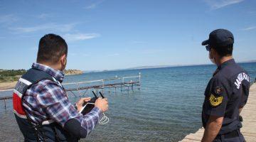 Keşan'da jandarma sahillerde drone ile denetim yaptı
