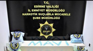 Edirne'de 32,38 kilogram uyuşturucu hap ele geçirildi