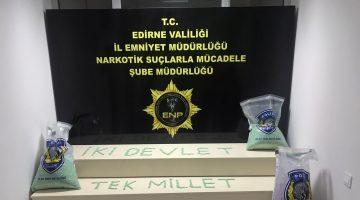 """Edirne polisi ele geçirdiği uyuşturucuyla """"İki devlet tek millet"""" yazarak Azerbaycan'a destek verdi"""