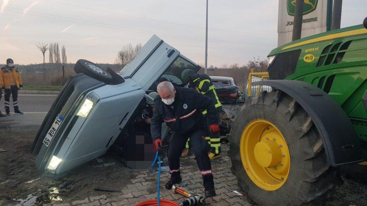 Tekirdağ'da park halindeki araca çarpan otomobilin sürücüsü öldü