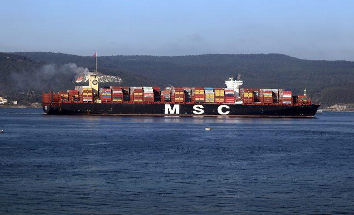 """Dev konteyner gemisi """"MSC Viviana"""" Çanakkale Boğazı'ndan geçti"""