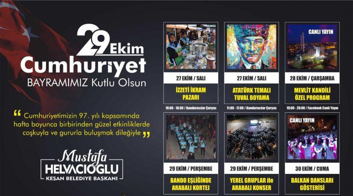 Keşan Belediyesi'nden dolu dolu 29 Ekim Cumhuriyet Bayramı programı
