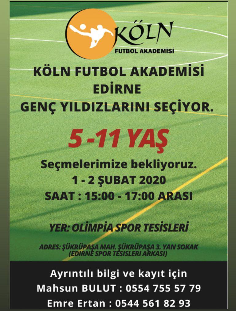 Köln Futbol Akademisi Edirne'de açıldı.