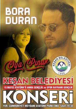 Oya Pınar ve Bora Duran 19 Mayıs'da Keşan'da konser verecek