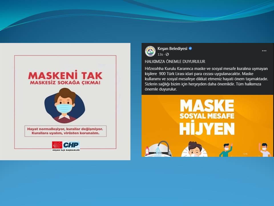 Keşan Belediyesi ve CHP Keşan İlçe Başkanlığı'ndan maske ve sosyal mesafe uyarısı
