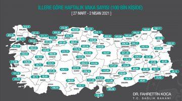 Sağlık Bakanı Koca, illere göre her 100 bin kişide görülen vaka sayılarını açıkladı